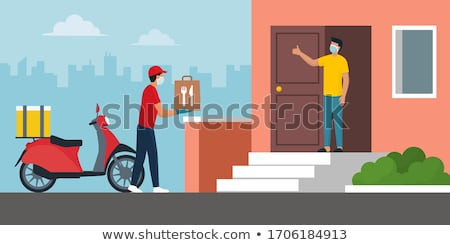 STAY HOME WE DELIVER Coronavirus social distancing restaurant business message sign. COVID-19 online Stock photo © Maridav
