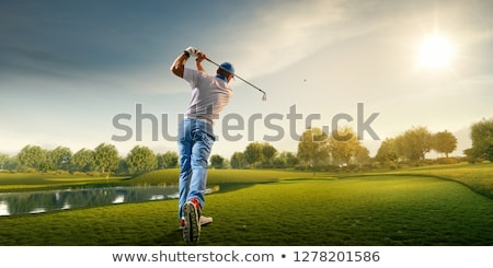 Foto stock: Jogador · de · golfe · pronto · homem · esportes · abstrato · clube