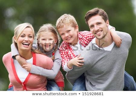 Családi portré fű család öt portré lány Stock fotó © Paha_L
