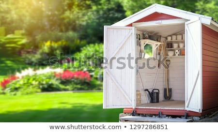 wooden shed in a beautiful landscape Stock photo © juniart