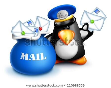 hóbortos · rajz · pingvin · postás · posta · táska - stock fotó © komodoempire