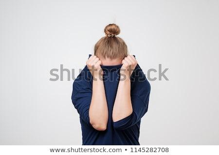 triste · nina · suéter · pelo · blanco · persona - foto stock © Massonforstock
