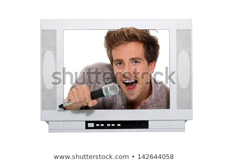 man posing on a fake television screen Stock photo © photography33