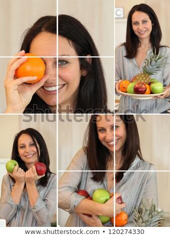 montázs · nő · tart · piros · zöld · almák - stock fotó © photography33