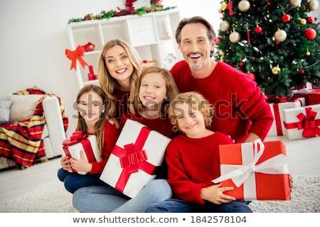 izgatott · fiatal · srác · karácsonyfa · fa · portré · fiú - stock fotó © deyangeorgiev