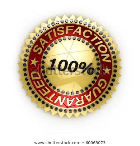 ストックフォト: 満足 · 保証された · シール · 白 · 背景 · 金属