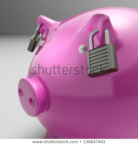 Foto stock: Trancado · orelhas · poupança · segurança · banco
