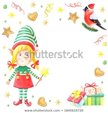 santa helper girl with magic wand Stock photo © dolgachov