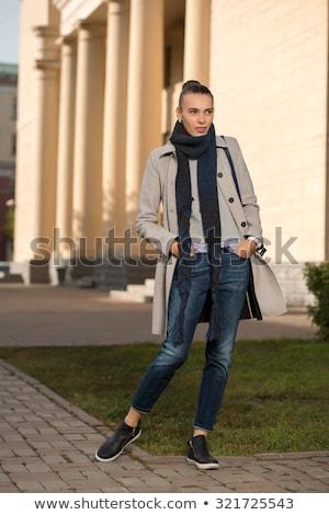 fiatal · gyönyörű · barna · hajú · szürke · kabát · arc - stock fotó © andersonrise