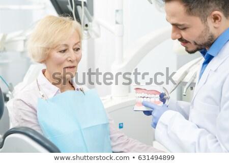 Dişçi diş hasta kadın ofis Stok fotoğraf © luckyraccoon