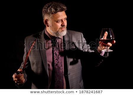 ストックフォト: 肖像 · ビジネスマン · ガラス · ワイン · 白