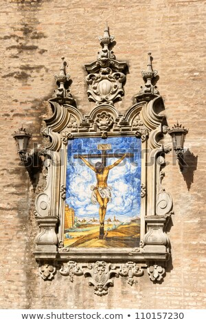 Azulejo of Jesus on the Cross, Church of the Annunciation in Sev Stock photo © aladin66