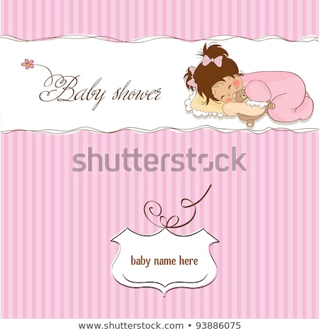 new baby girl announcement card with girl and her toy Stock photo © balasoiu