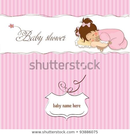 nieuwe · baby · aankondiging · lege · kaart · douche · uitnodiging - stockfoto © balasoiu