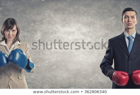 Vrouw bokser klaar tegenstander boksen witte Stockfoto © get4net