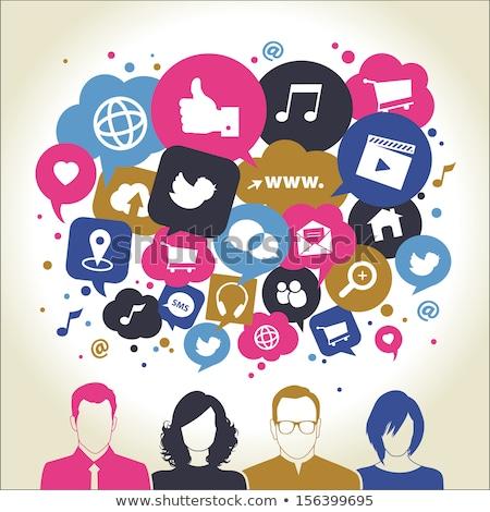 Social media dialog pęcherzyki wektora tłum technologii Zdjęcia stock © burakowski