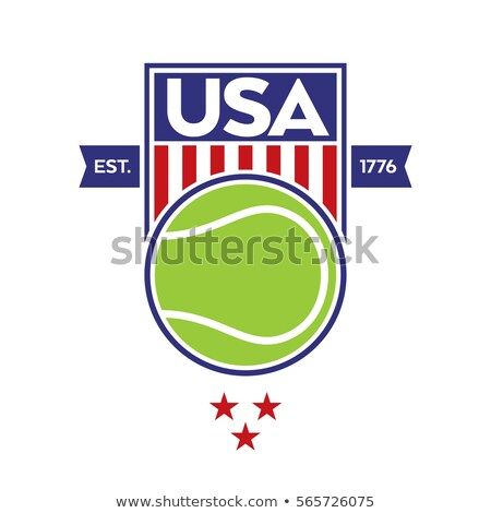 tennis shield seal illustration design over a white background stock photo © alexmillos