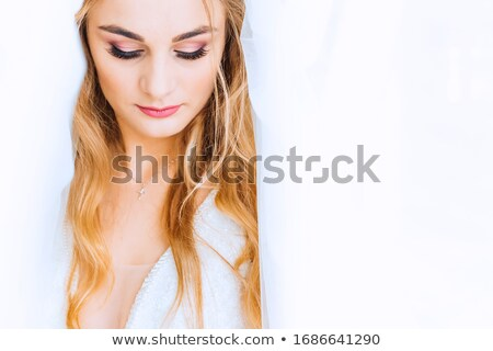 Young beautiful woman with closed eyes with day makeup eye shado Stock photo © HASLOO