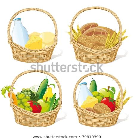 Mieszany chleba wiklina koszyka pszenicy rolnictwa Zdjęcia stock © M-studio