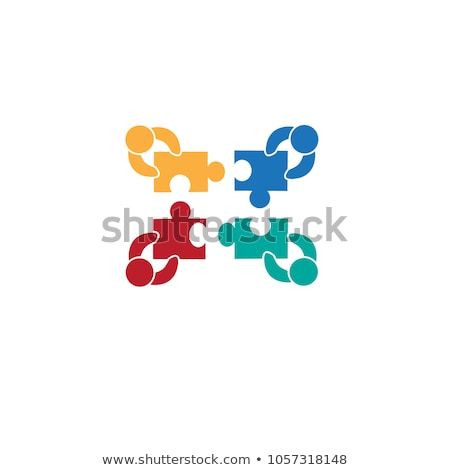 teamwork and puzzle pieces with person signs, flat design Stock photo © marinini