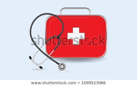 Tıbbi çanta siyah deri doktorlar stetoskop Stok fotoğraf © Hofmeester