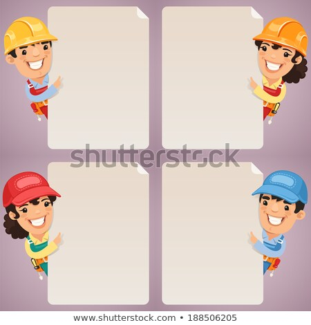 builders cartoon characters looking at blank poster set stock photo © voysla