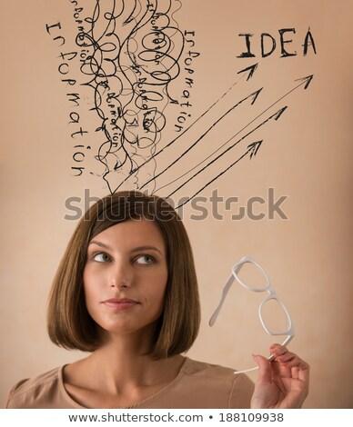 Mulher de negócios experiência informação conhecimento idéias jovem Foto stock © HASLOO