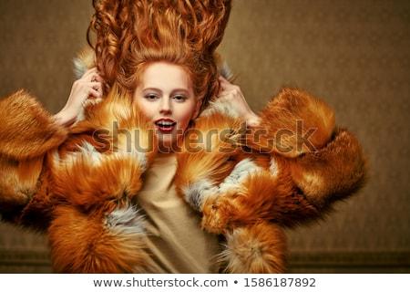Vrouw pels glimlach gezicht mode model Stockfoto © Nejron