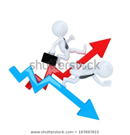 Business man run over graph arrow. Rise and fall concept. Isolated. Contains clipping path Stock photo © Kirill_M