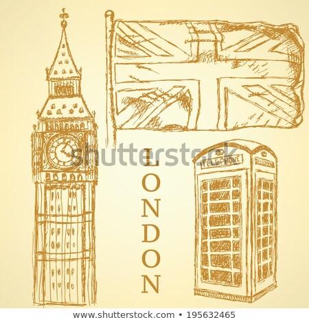 Esboço Big Ben bandeira telefone cabine vetor Foto stock © kali
