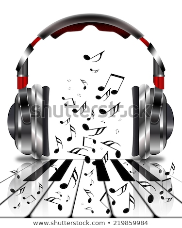 Realistisch hoofdtelefoon muziek merkt hemel wolken partij Stockfoto © ankarb
