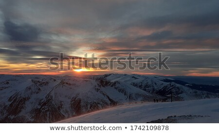 snowy sunlight plateau at evening stock photo © bsani