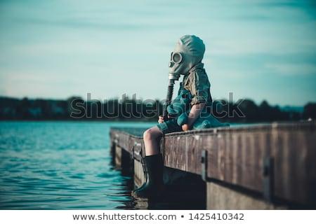Meisje gasmasker illustratie teken fabriek schedel Stockfoto © adrenalina