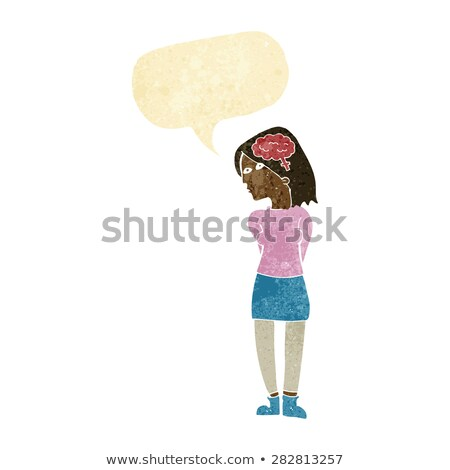 cartoon intelligent woman with speech bubble Stock photo © lineartestpilot