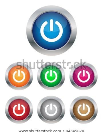 ストックフォト: ベクトル · 赤 · ガラス · ボタン · 電源 · アイコン