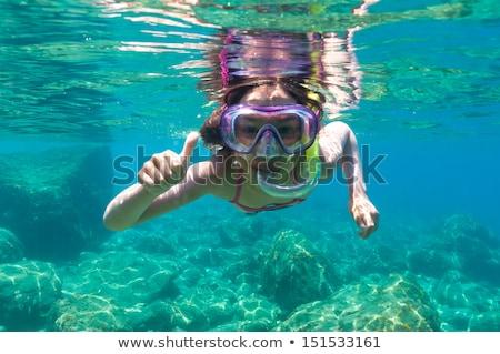 Dziewczynka snorkeling morze Śródziemne morza dziewczyna dziecko Zdjęcia stock © phbcz