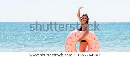 portret · sexy · jonge · brunette · zwembad · vrouw - stockfoto © deandrobot
