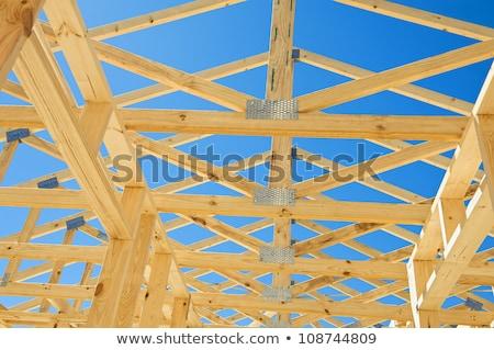 天井 トラス 構造 建設現場 金属 産業 ストックフォト © user_9323633