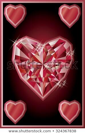 Ruby cuori poker carta moda vetro Foto d'archivio © carodi
