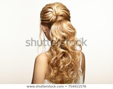 provocante · elegante · mulher · loira · jaqueta · de · couro · câmera - foto stock © neonshot