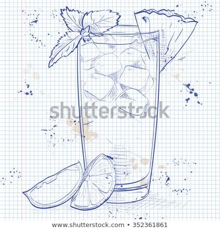Glas · Flasche · Ananas · Saft · isoliert · weiß - stock foto © netkov1