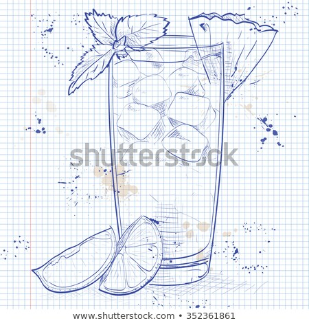 Stockfoto: Cocktail · notebook · pagina · licht · rum · donkere