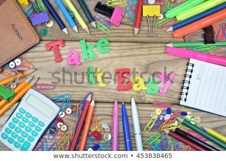 Fácil palavra escritório ferramentas mesa de madeira Foto stock © fuzzbones0
