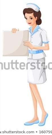 Nővér tart kifejezéstelen diagram illusztráció fehér Stock fotó © bluering
