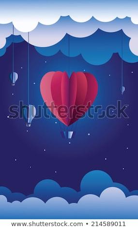 вектора красный сердце подвесной воздушном шаре синий Сток-фото © adrian_n