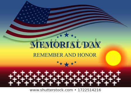 Military Cemetery. Vector background of Memorial Day. Crosses wi Stock photo © popaukropa