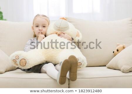 Barnamedve aranyos kicsi medvebocs plüssmaci áll Stock fotó © adrian_n