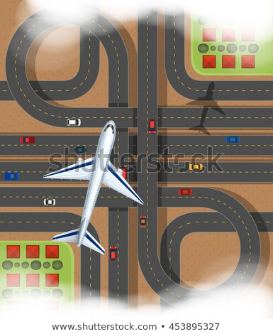 Scene with airplane flying over the express way Stock photo © bluering