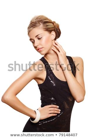csinos · fiatal · nő · rövid · ruha · izolált · fehér - stock fotó © elnur