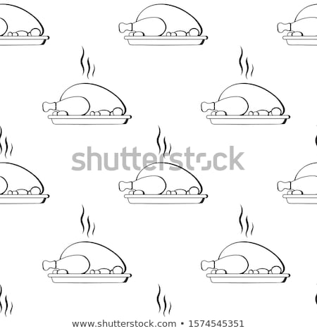 Waiter hand serving Roasted chicken on plate Stock photo © jiaking1
